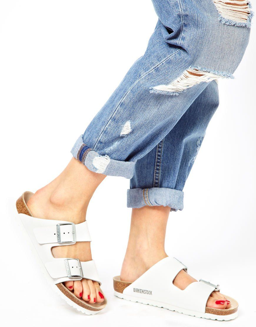 Womens sandals narrow - Image 1 Of Birkenstock Arizona White Leather Two Strap Narrow Fit Sandals