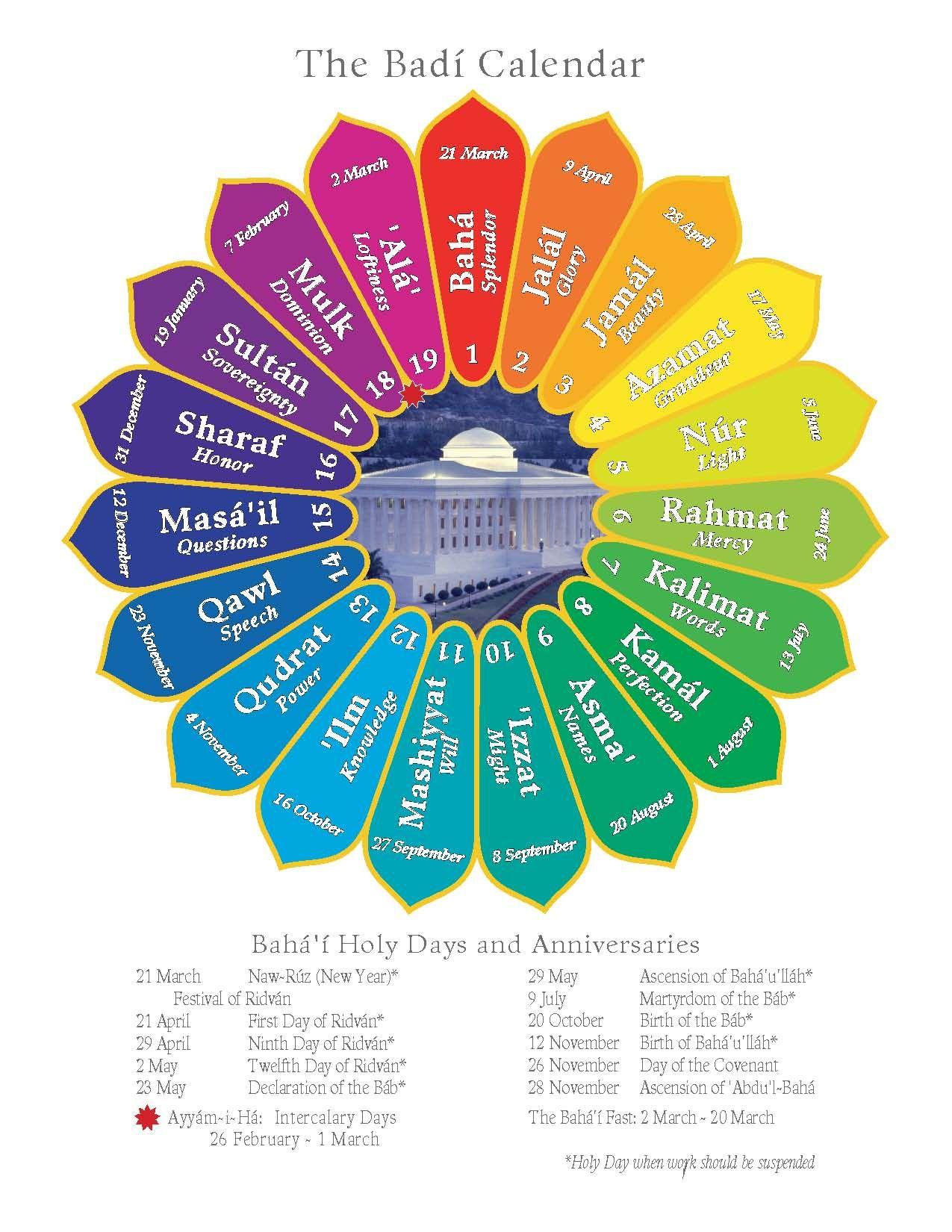 The Baha I Calendar A Solar Calendar With Nineteen Months And 19