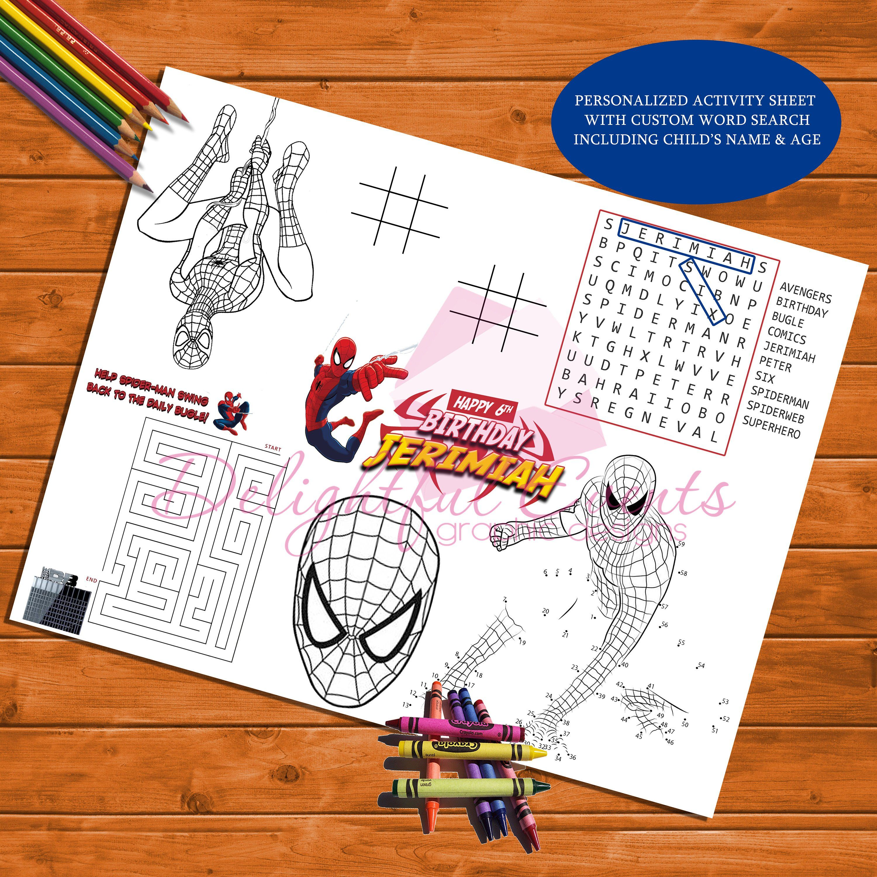 Spiderman Birthday Personalized Activity And Coloring