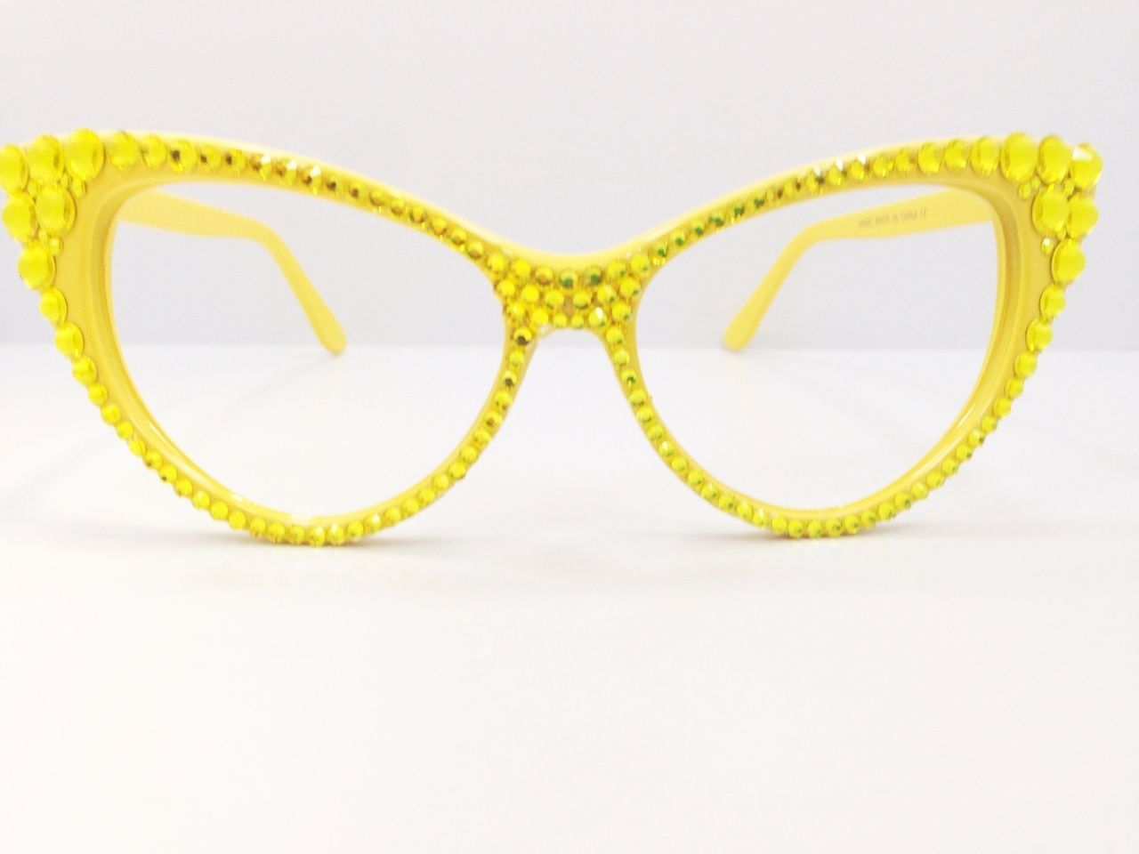 Divalicious Jewelry Crystal Cat Eye Glasses in Yellow. Available on www.divaliciousjewelry.com.