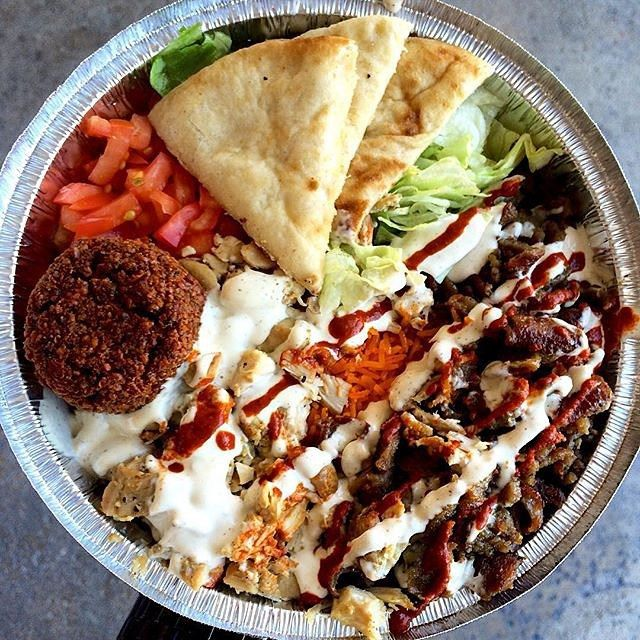 The Halal Guys Platter Chicken And Lamb Gyro Over Rice And Pita