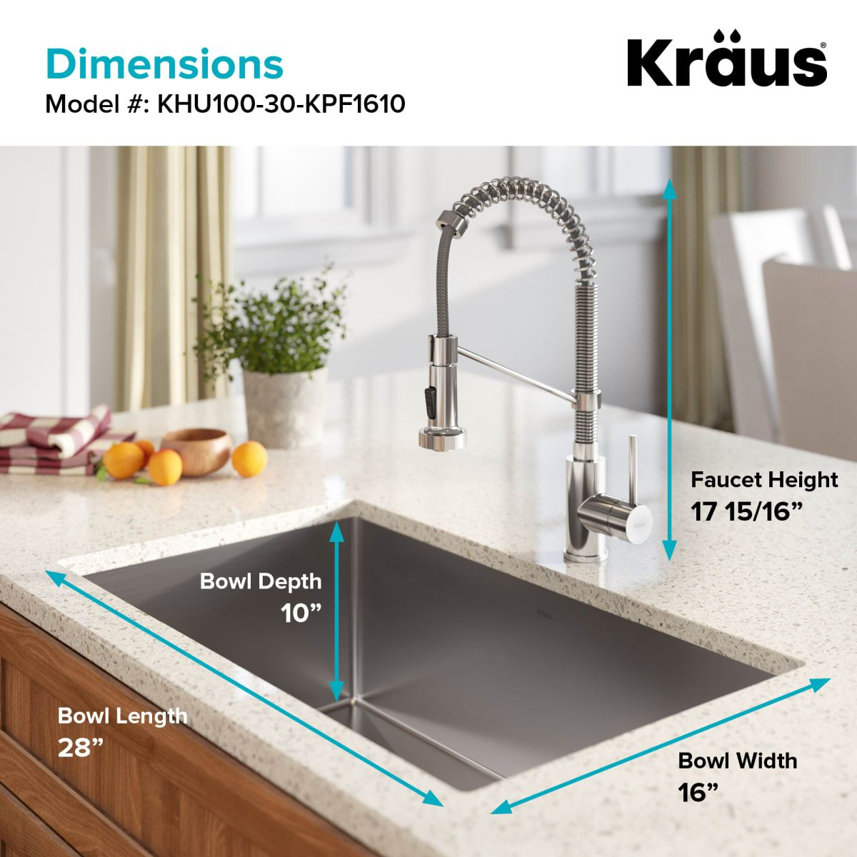 Kraus Khu100 30 1610 53ss Stainless Steel Standart Pro 30 Undermount Single Basin Stainless Steel Kitchen Sink With Deck Mounted 1 8 Gpm Pre Rinse Kitchen Fa Undermount Kitchen Sinks Single Bowl Kitchen Sink Double Bowl