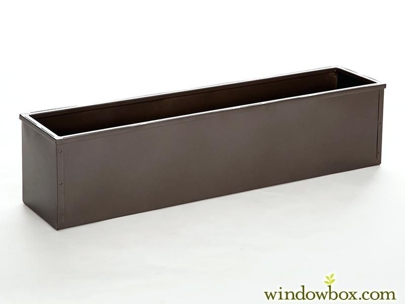 Plastic Rectangular Planter Bronze Tone Metal Window Box Liner