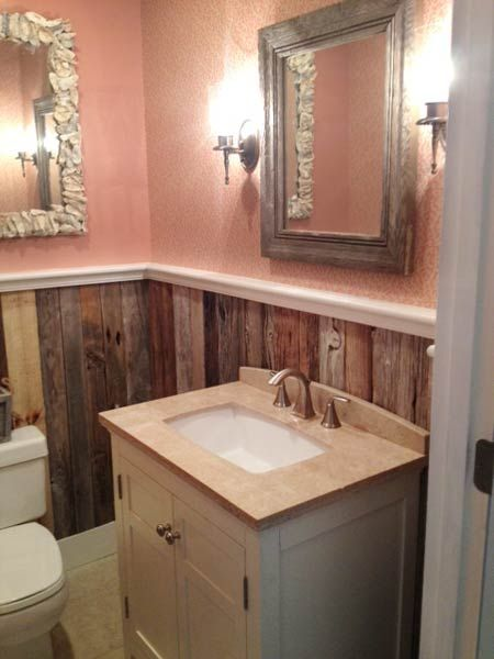 Salvaged Details Can Amplify A Tiny Room S Design Cred Reclaimed Boards Make For Handsome Wainscot Or Paneling In Postage Stamp Size Bath