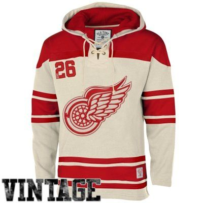Men's Detroit Red Wings Old Time Hockey Stone Home Lace Heavyweight Hoodie