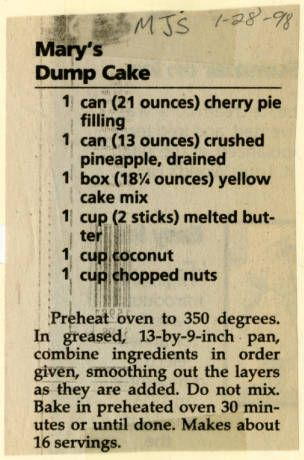Mary's Dump Cake :: Historic Recipe