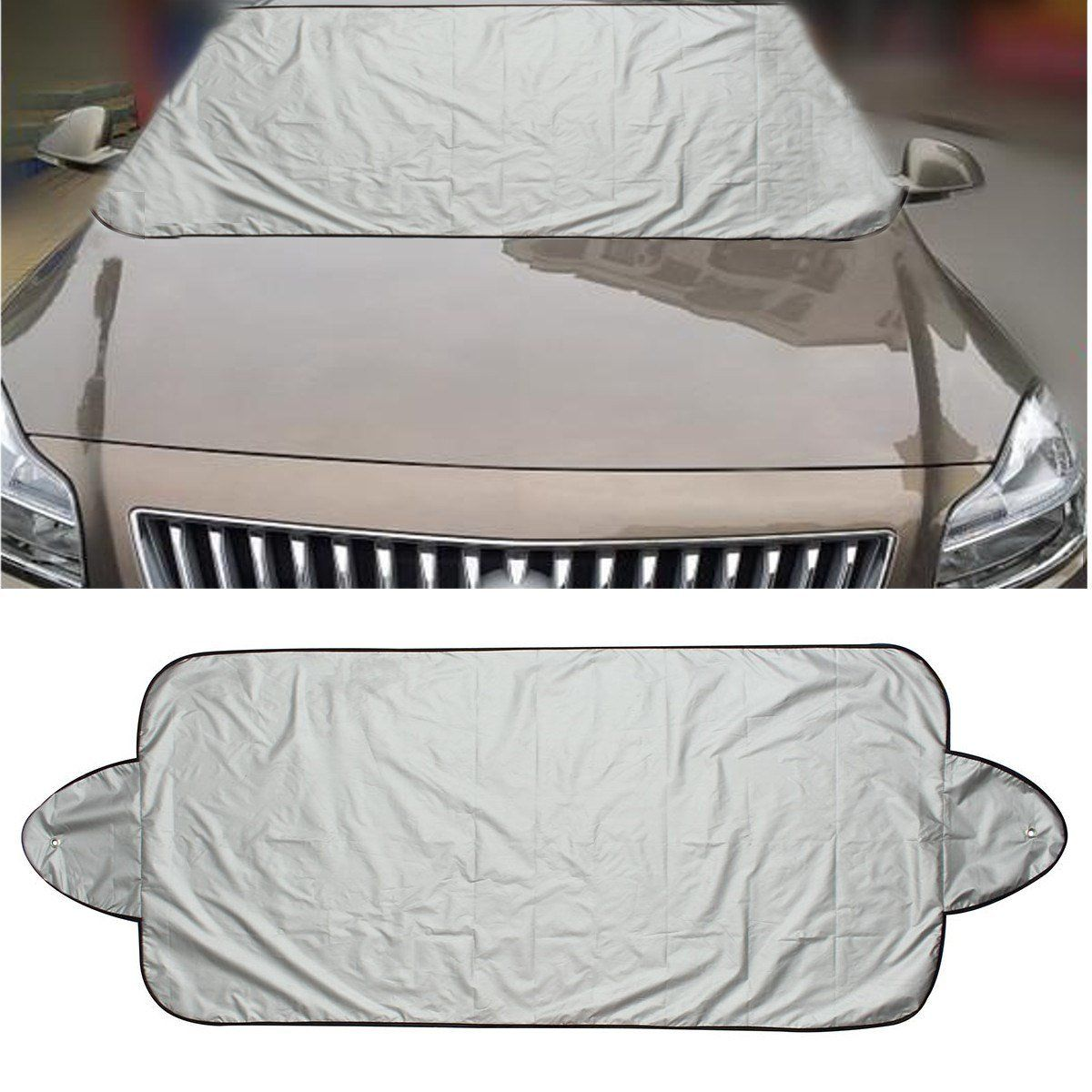 Car Windshield Visor Cover UV Protect Anti Ice Snow Frost Shield Dust Protection Sun Shade for Front Car Windshield-Black