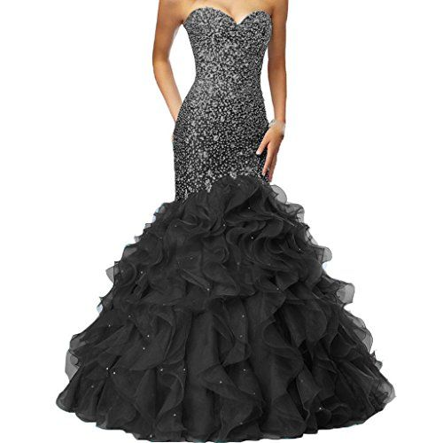 c278d280531 Crystals Long Mermaid Ruffles Beaded Sweetheart Corset Formal Prom Evening  Dresses Black US 6    More info could be found at the image url.