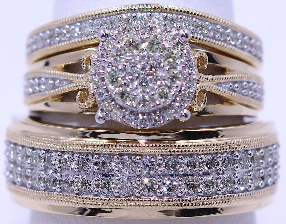 Details about 14K Yellow Gold Finish Round Diamond His Her