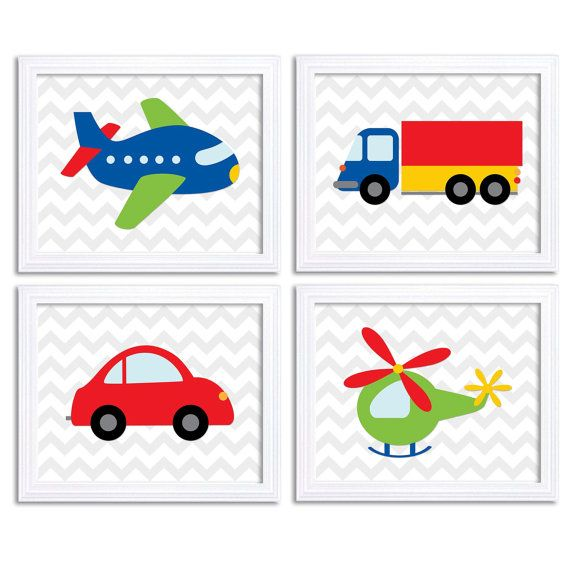 Transportation Nursery Art Set of 4 Print Colorful Red Blue Green ...