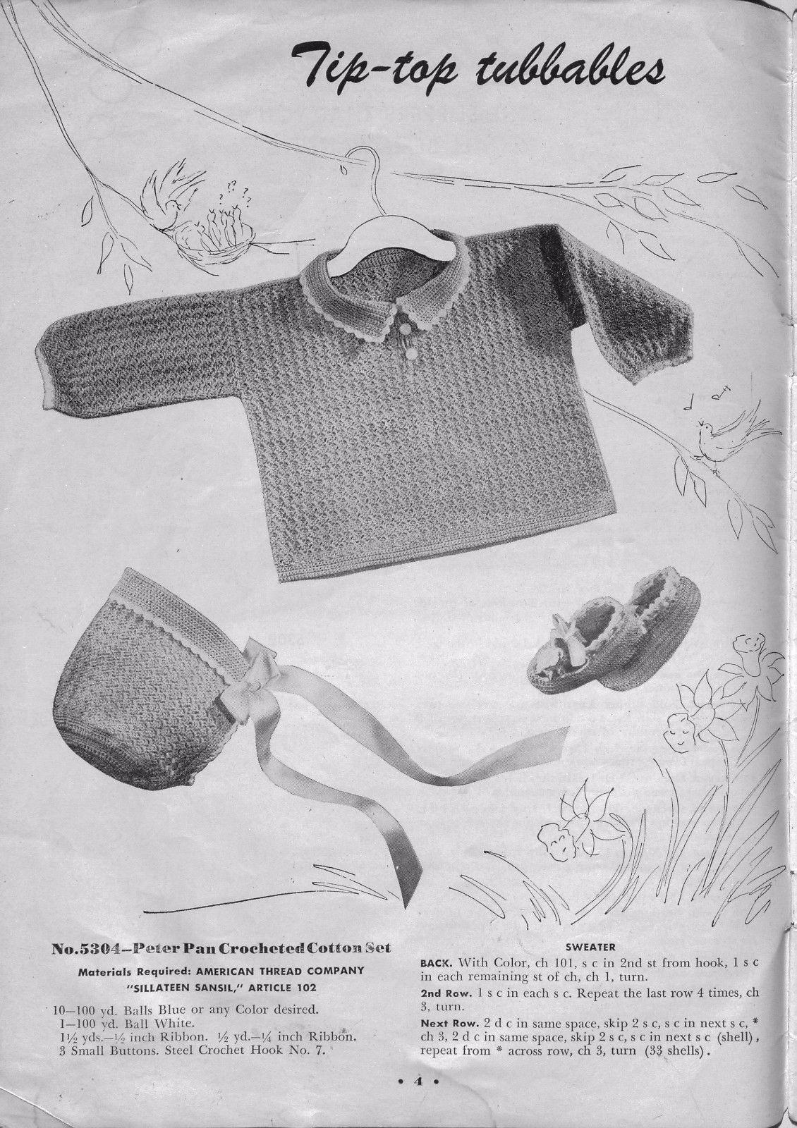 c36ac1c3276 American Thread Star 53 New Baby Book Knit Crochet Patterns Bonnet ...