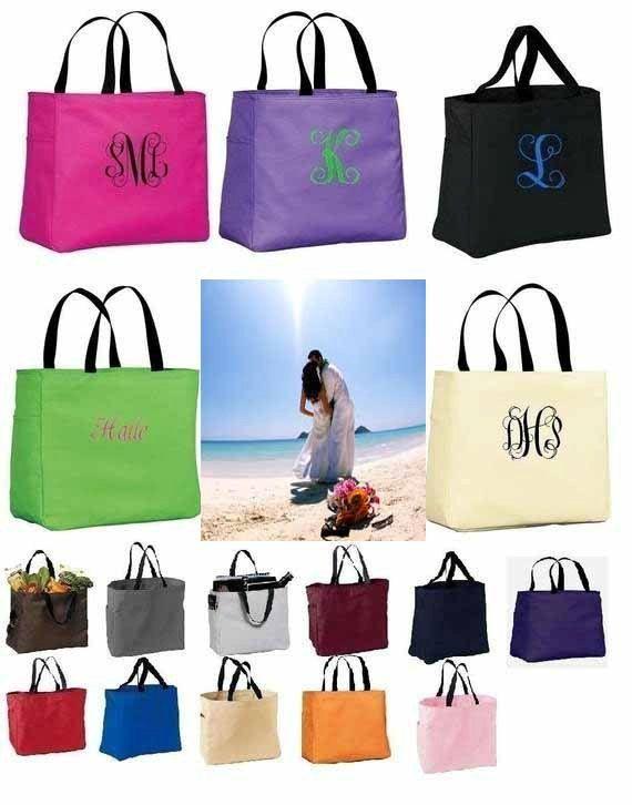 7 Personalized Tote Bag Monogram Bridesmaid Gift Wedding Bridal Shower Cheer Zip