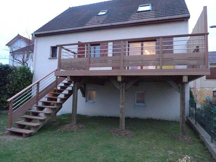 Terrasse bois suspendue sur pilotis et balcons bois à Angers - terrasse en bois suspendue prix