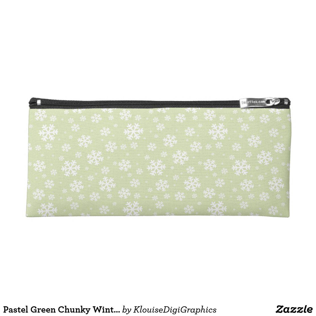 Photo of Estuche de lápices de color verde pastel pastel copos de nieve | Zazzle.com