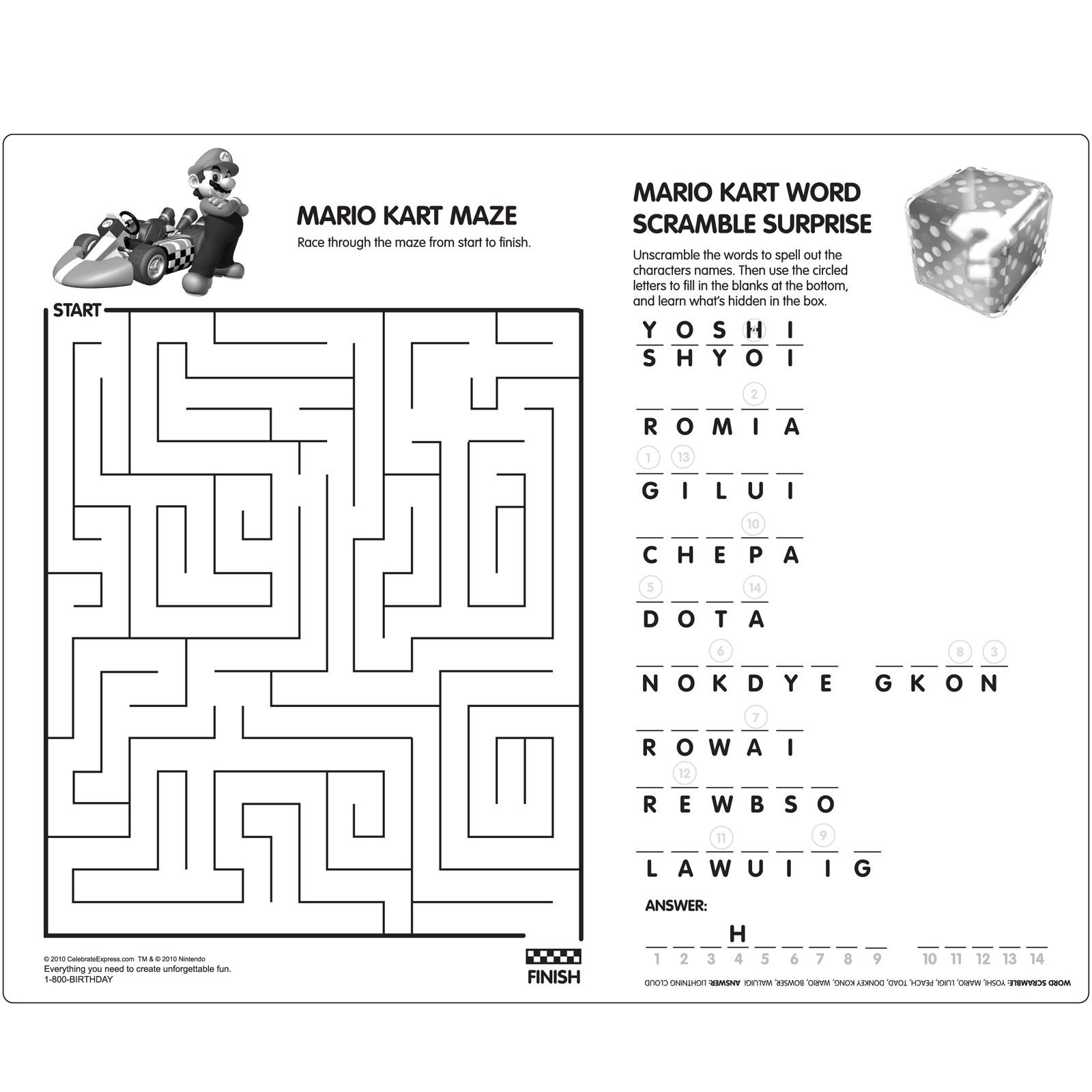 Mario Activity Sheet With Images