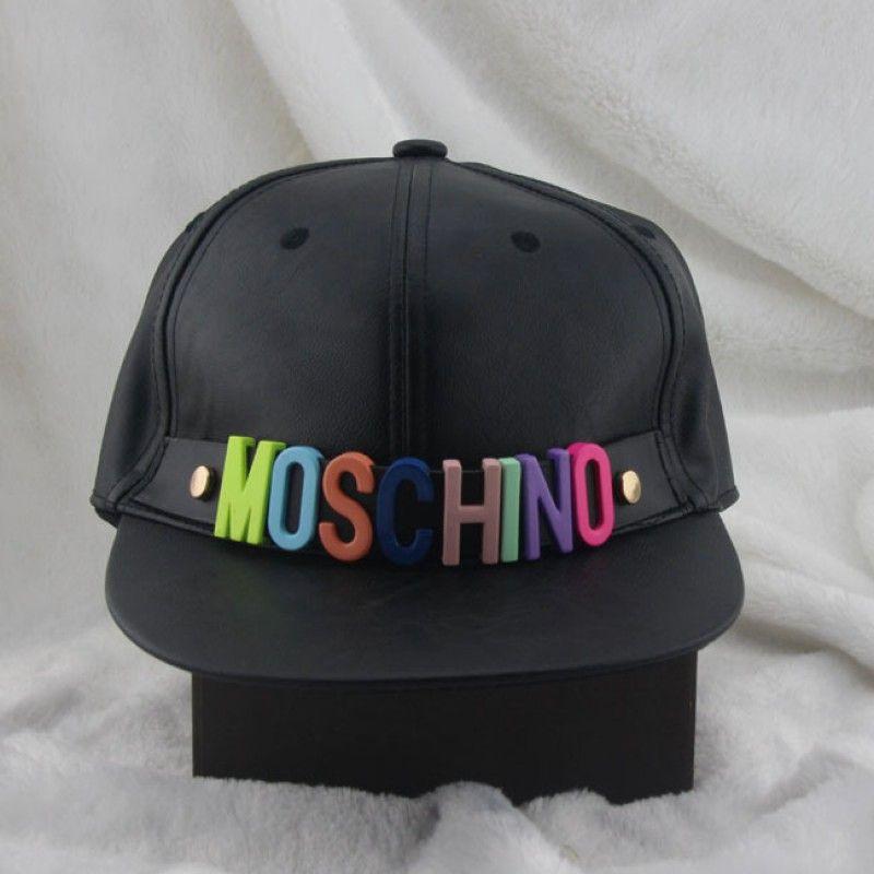 338d6305b6542 Moschino Rainbow Logo Leather Baseball Cap Black