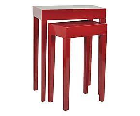 Set di 2 tavolini ausiliari in paulonia Red - max 58x79x33 cm