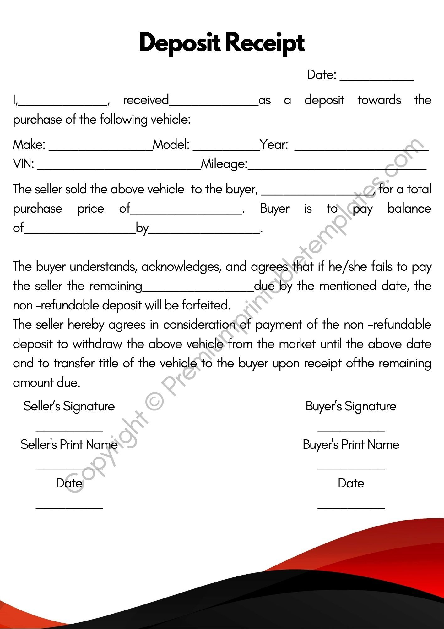 Deposit Receipt Template Pack Of 5 Premium Printable Templates Receipt Template Template Printable Receipt