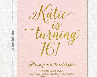 blush pink gold glitter sweet 16 party invitation teen birthday