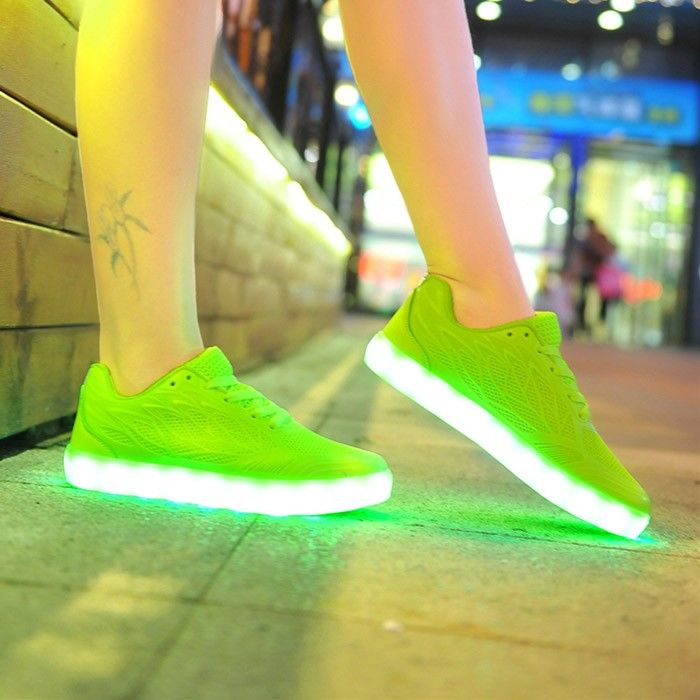 Basket Vert Fluo Led | Baskets vertes, Chaussures lumineuses