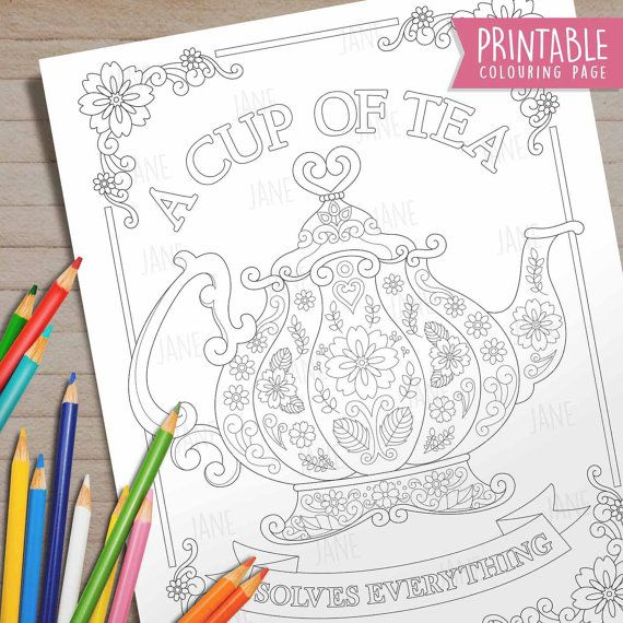 Printable Download, Adult Coloring Colouring Book Pages, DIY Tea ...