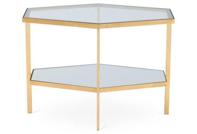 Hexagon Mirrored Side Table, Gold