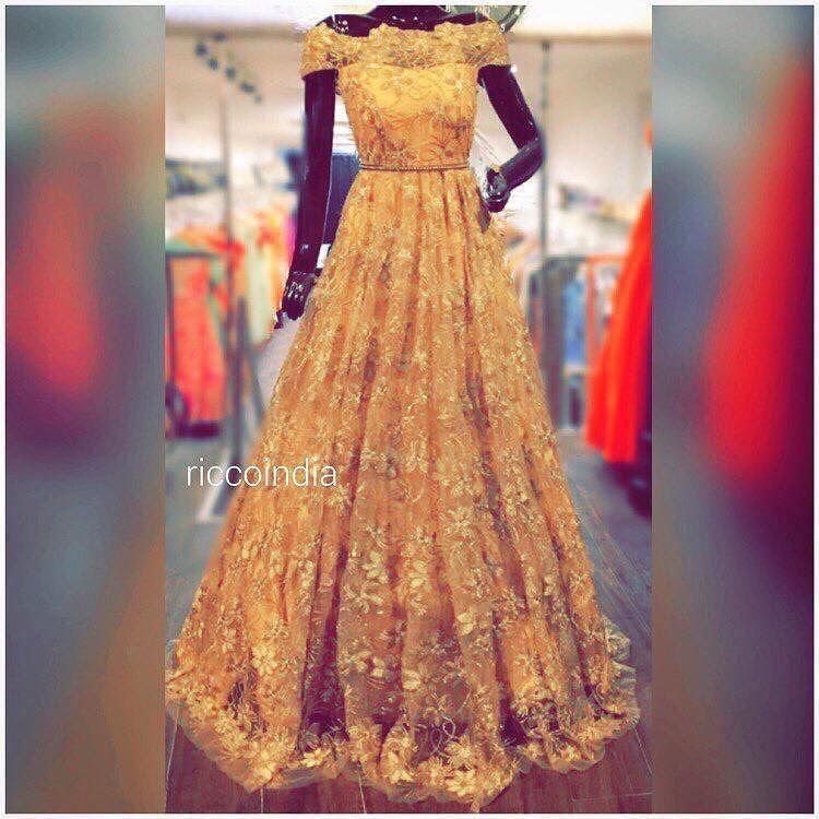 Off Shoulder Golden Cocktail Gown For Engagement And Wedding