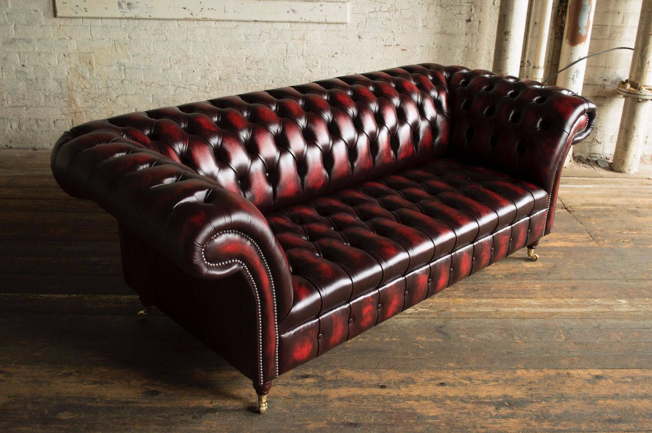 Vintage Leather Chesterfield 3 Seater Sofa Oxblood Red Antique Leather British Handmade Top Qual Antique Furniture Living Room Furniture Leather Corner Sofa