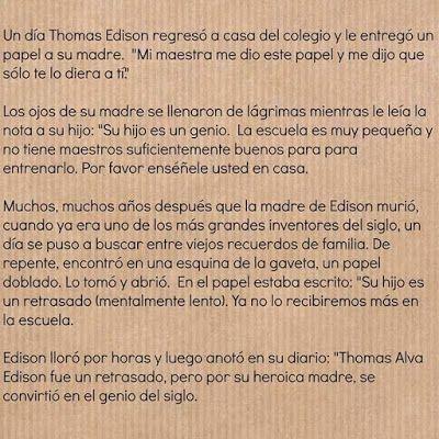 El Rincon De Yanka Gracias A Su Madre Thomas Edison Fue Un Genio Edison Amor De Mama Tomas Edison