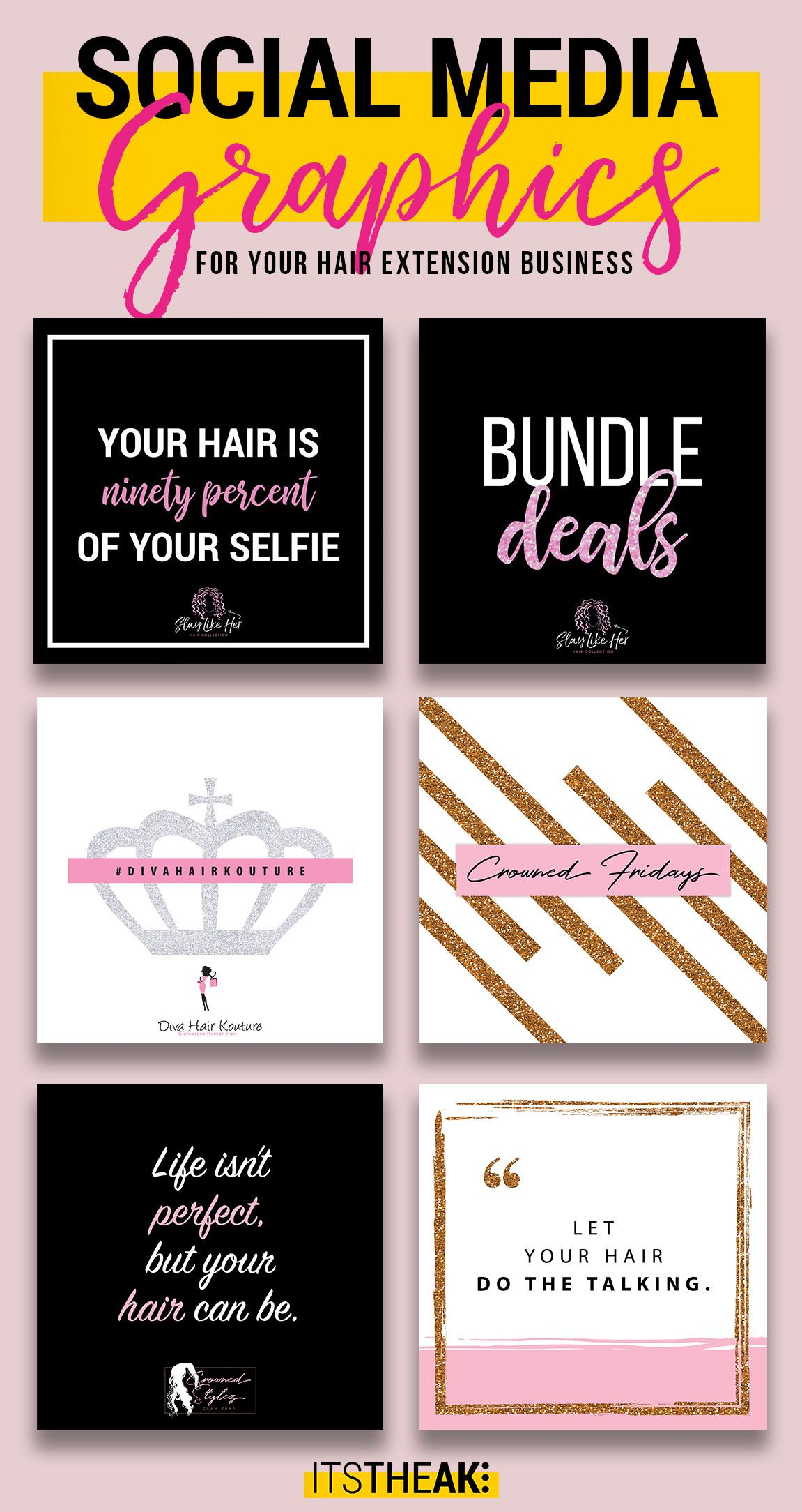 Premade Social Media Graphics For Hair Extension Businesses