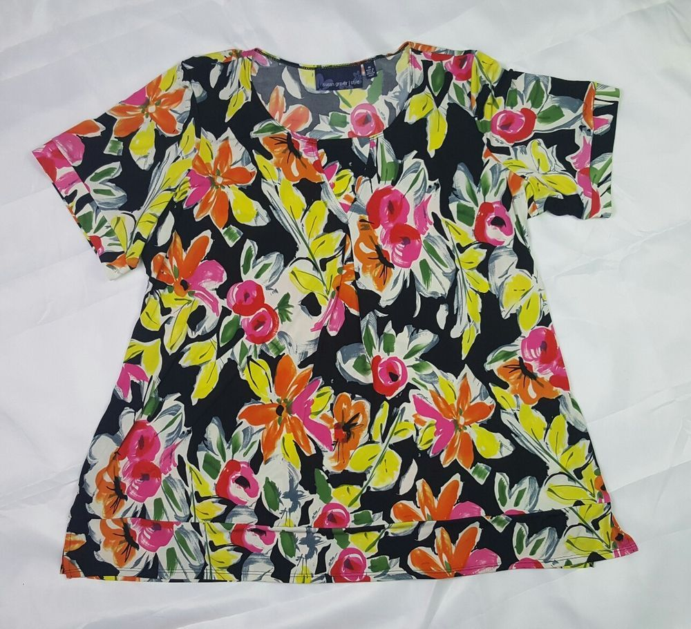 Susan Graver 3x Liquid Knit Top Floral Short Sleeve Black Yellow