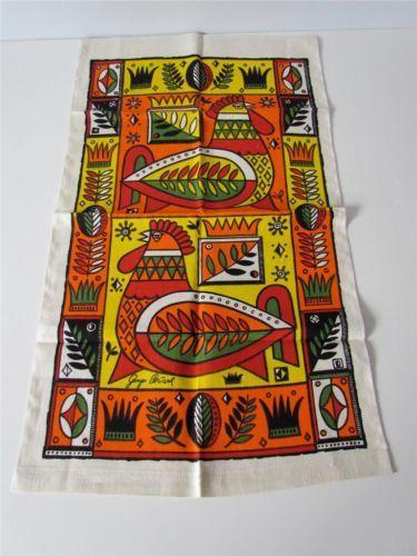 Vintage Mid Century Modern George Briard Design Textile 100 Linen Tea Towel   eBay