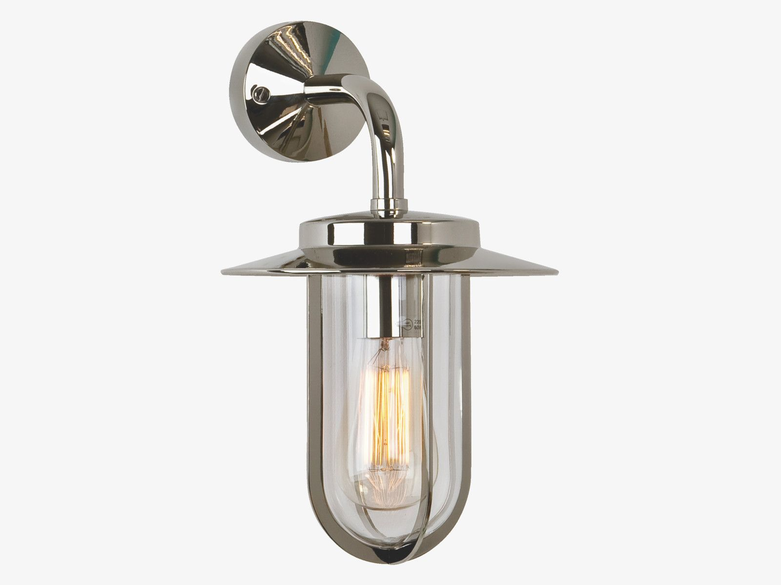 Montparnasse silver metal glass and metal outdoor wall light ip