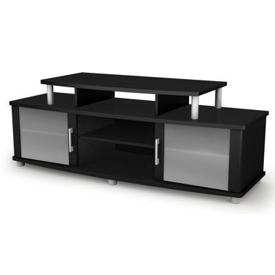 This Tv Stand Combines Sleek Lines Matte Silver Accents Frosted
