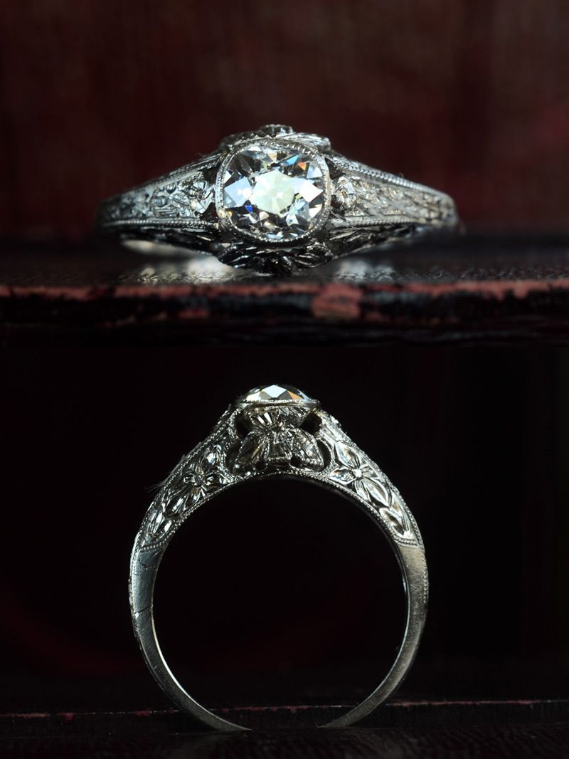 1910-20s Edwardian 0.61ct Old Mine Cut Diamond Ring (E-F/SI1), Platinum, $2850