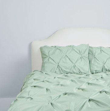 400 Thread Count Pintuck Duvet Cover, The Valencia Seafoam Green    Traditional   Duvet Covers · Green BeddingBedding DecorDuvet ...
