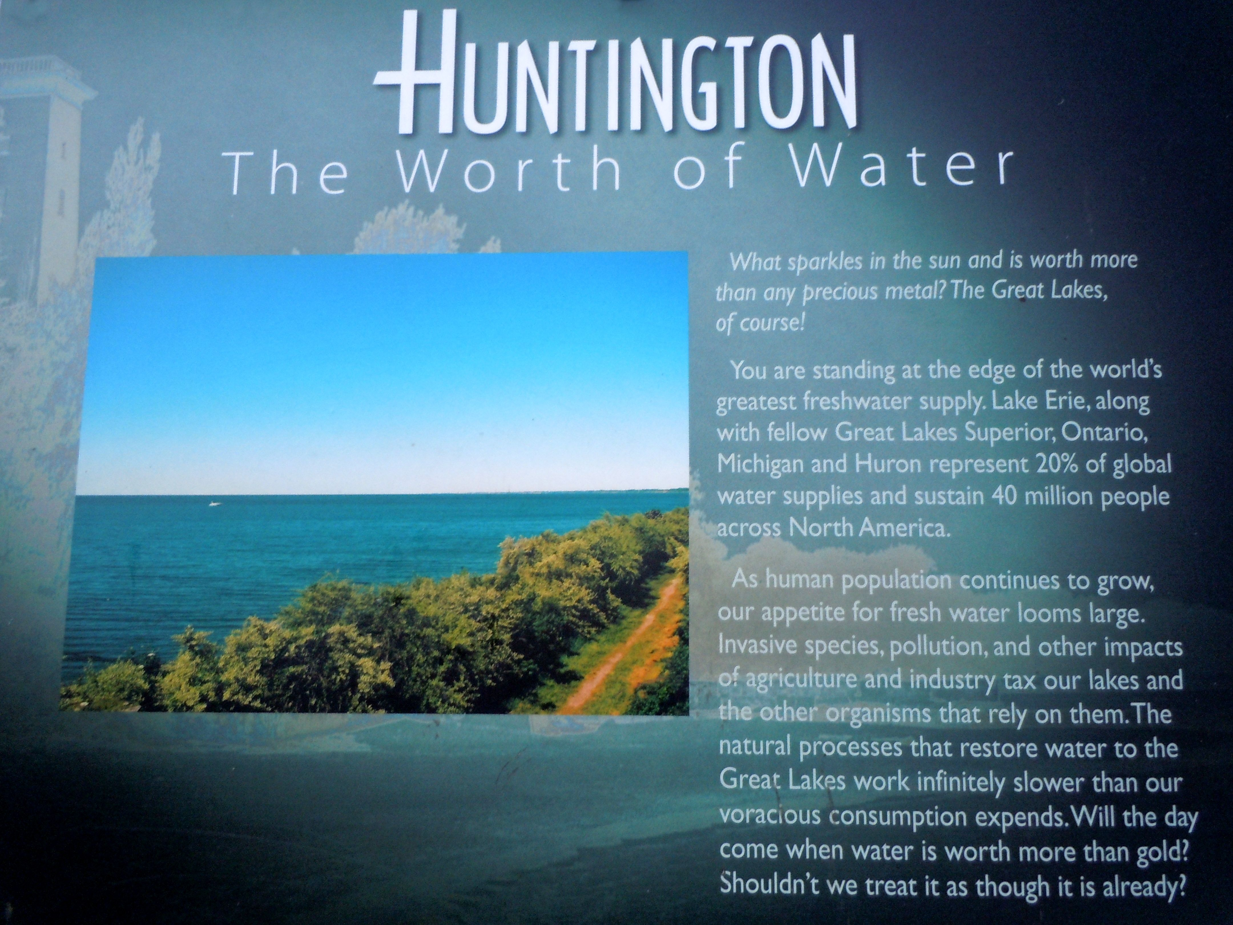 Some Considerations About The Great Lakes From An Interpretive Sign At Huntington Beach Lake Erie Great Lakes Environmental Design Lake