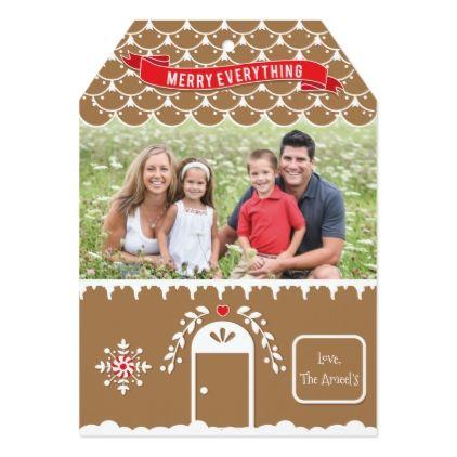 Gingerbread House 4 Photo Christmas Card Tag - christmas cards