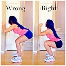 The wrong and right way to do a squat.