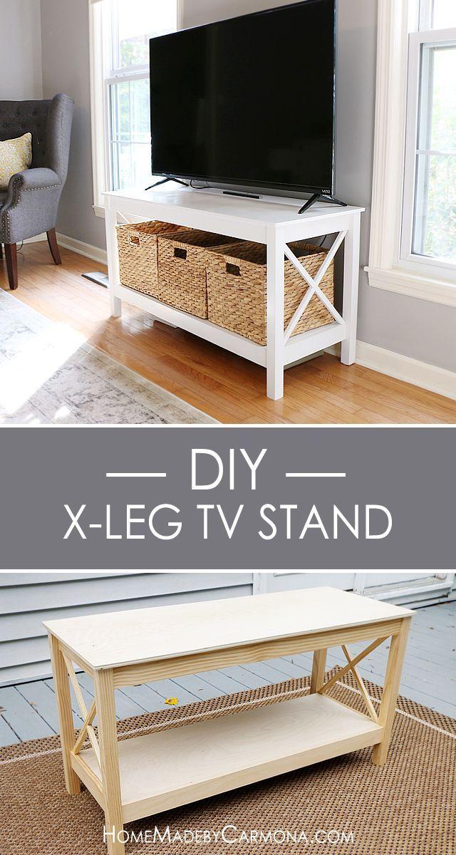 diy x leg tv stand meuble t l caravane et ma maison. Black Bedroom Furniture Sets. Home Design Ideas