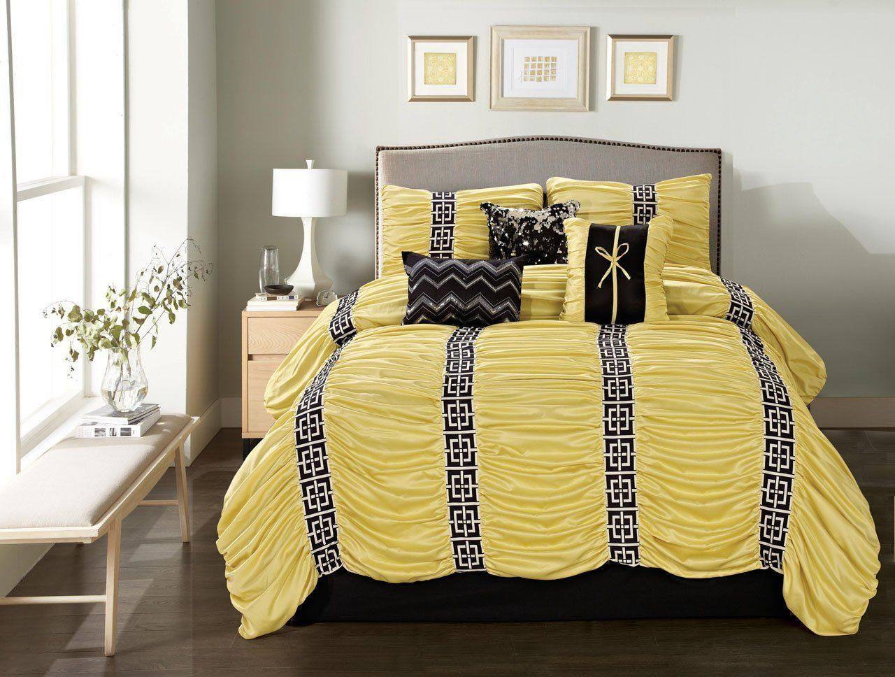 All Bedding Sets Yellow And Black Black Comforter Sets