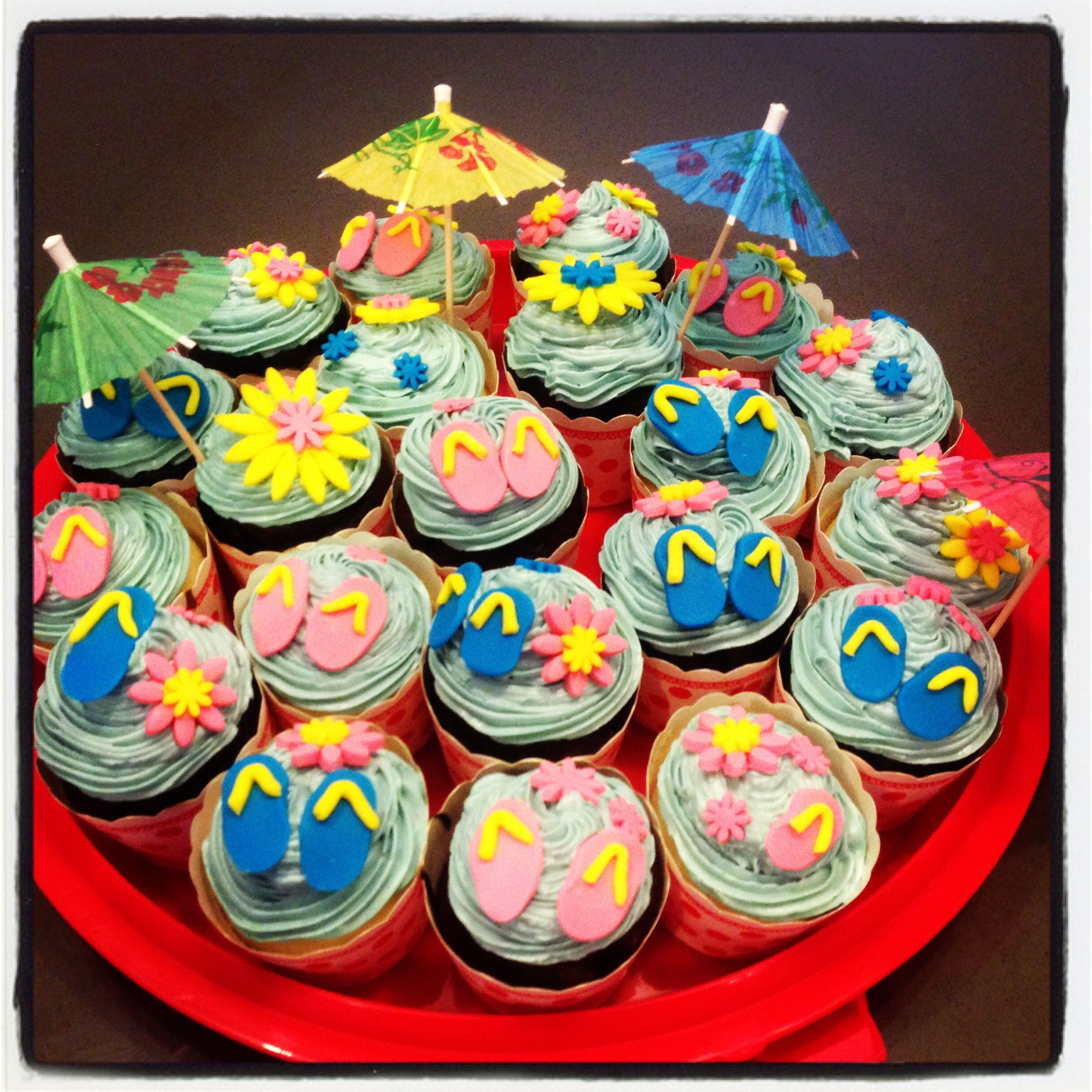 Pool Birthday Party Cupcakes