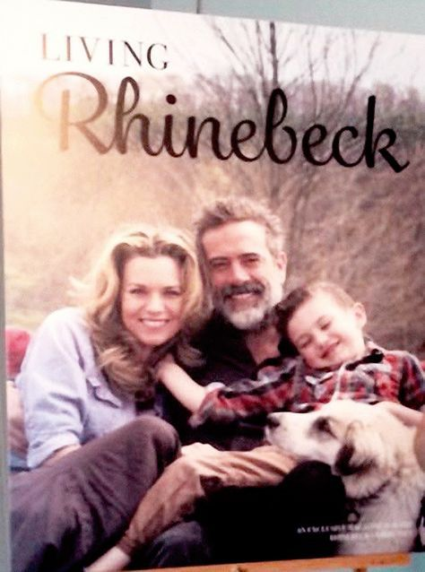"""""""First official photo of Jeffrey Dean Morgan, Hilarie Burton & their son Gus on the cover of Living Rhinebeck magazine. """""""