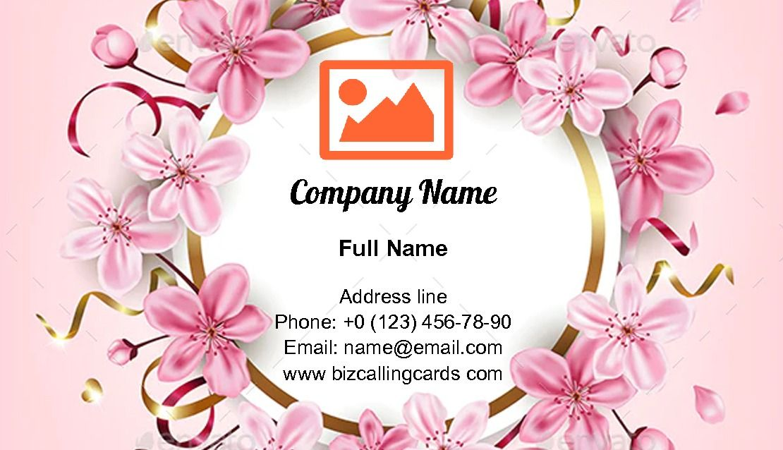 Create Online Pink Cherry Flowers Business Card Template In 2020