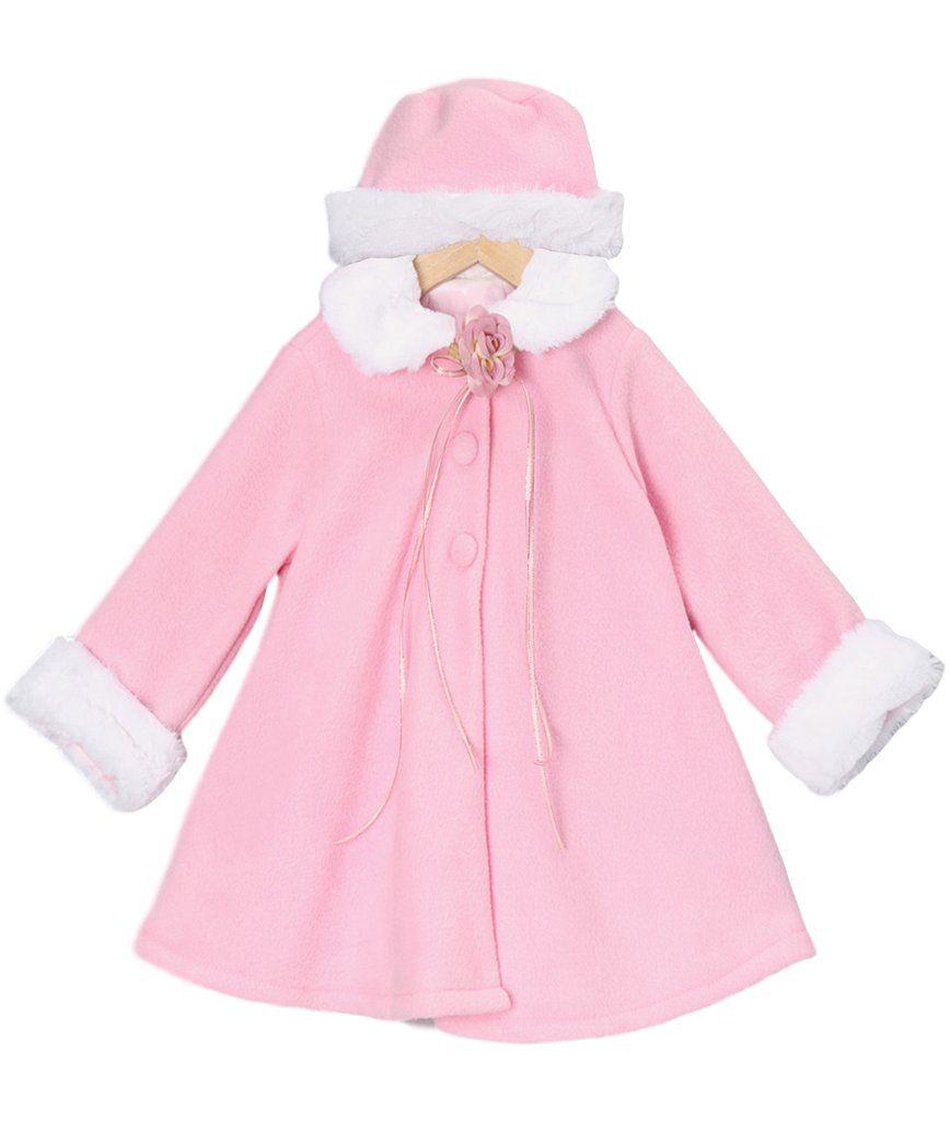 58d365f4b Pink Fleece   White Fur Trimmed Girls Dress Coat w. Hat 3m-24m in ...