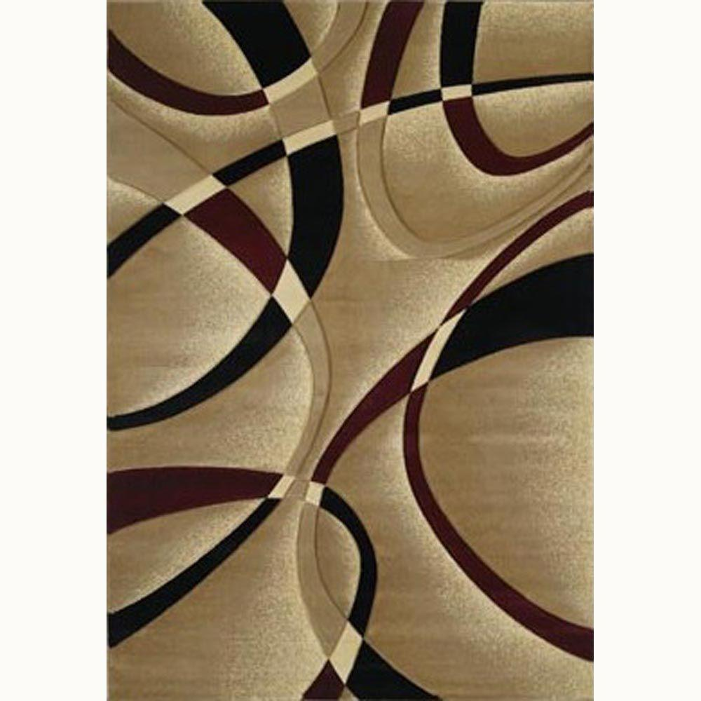 La Chic Burgundy 5 Ft X 8 Ft Contemporary Area Rug 510 21334 58
