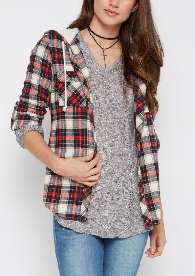 image of Ivory Mock Sherpa Hooded Plaid Shirt