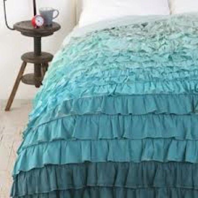 Ombr 233 Blue Ruffle Bedspread I Want Blue Ruffle Duvet