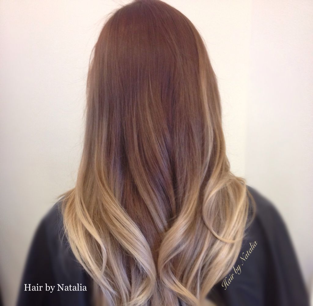 Balayage Color Melt From Dark Burgundy Red To Strawberry Blond And