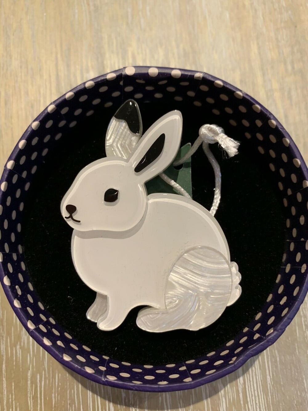 Blue bunny silhoutte brooch
